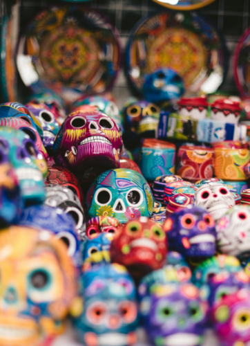 Pained skulls in Mexico
