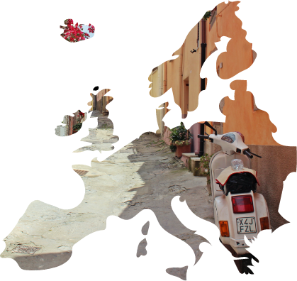 An image of an Italian Vespa in Europe, cut out in the shape of Europe